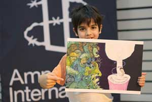 Boy holds up Chris Riddell illustration of a candle for the 'Freedom to make a difference' page